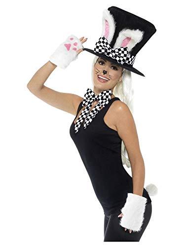 shoperama Zubehör-Set Märzhase Zylinder-Hut Hase Kaninchen-Ohren Handschuhe Schwanz Schleife Alice im Wunderland
