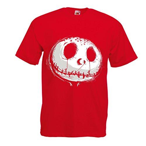 Männer T-Shirt beängstigend Schädel Gesicht - Alptraum - Halloween-Party-Kleidung (XX-Large Rot ()