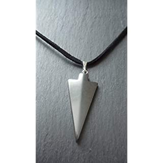 Mens Hematite Arrowhead Pendant Necklace Adjustable Cord Chakra Gemstone Protection Luck Gift
