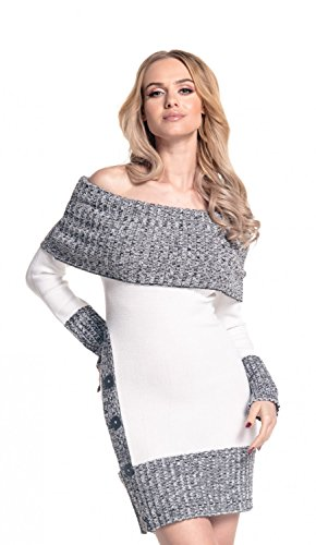 Glamour Empire. Femme Robe Pull Moulante Style Bardot en Maille mélangée. 913 (Blanc, 38-42, One Size)