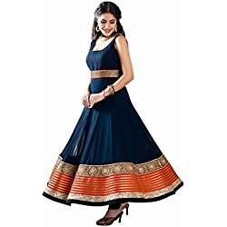 Active Women's Georgette Anarkali Dress Material (Semi-Stiched-Blue)