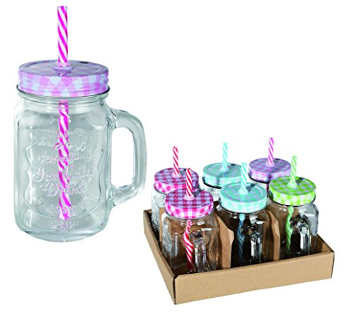 What's Your Tipple? - Vintage Jar Drinking Glass With Handle, Metal Lid & Straw - Great Christmas Present or Secret Santa Gift for Men & Women - One Supplied
