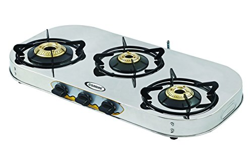 Sunshine Three Burner VT 3 Stainless Still Gas Stove with Auto Ignition