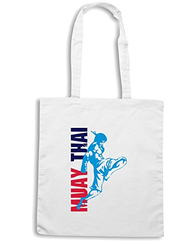 T-Shirtshock - Borsa Shopping TBOXE0035 muay thai fighter02a Bianco