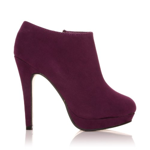 Stivaletti alla caviglia con tacco a stiletto molto alto, Finto Camoscio Viola, H2O Camoscio viola