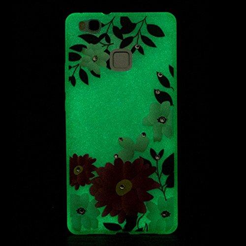 Paillette Coque Housse Etui pour iPhone SE/5S,iPhone 5S Coque en Silicone Clear Etui Housse avec Bling Glitter Diamant Strass Transparent Gel Slim Case Soft Gel Cover Skin, Ukayfe Etui de Protection C fleur rouge
