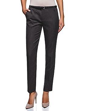 oodji Ultra Mujer Pantalones Básicos con Cinturón
