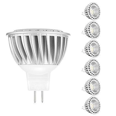 MR16 LED GU5.3 Ampoules 6W blanc chaud, ARVIDSSON Spotlight LED 12v remplacement pour halogène 50W, lentille optique améliorée 450Lm Enhanced Efficacité 2700K romantique chaud lueur, Die-Casting aluminium non DIMMABLE, 6-Pack