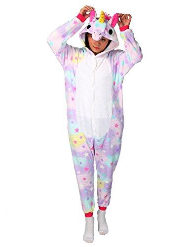 Tier Karton Kostüm Einhorn PyjamaTierkostüme Jumpsuit Erwachsene Schlafanzug Unisex Cosplay (XL(Höhe175-182CM), Violett (Für Frauen Kostüme Eichhörnchen)