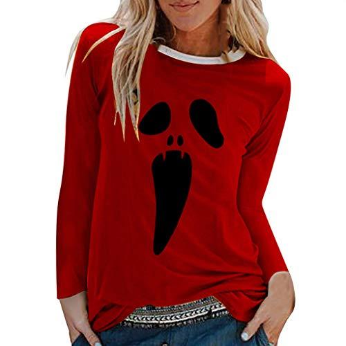 Känguru Baby Tragen Kostüm - SHE.White Damen Halloween Weihnachten Kostüm, Frauen Langarm Geist Print Sweatshirt Pullover Tops Herbst Lose Casual Asymmetrische Druck Bluse T Shirt Oberteile