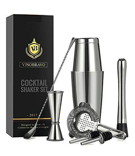 11-Piece Boston Cocktail Shaker Bar Set by VinoBravo: 2 Weighted Shaker Tins, Strainer Set, Double Jigger, Bar Spoon, Ice Muddler & Tong, 2 Liquor Pourers & Cocktail Recipe Guide (Silver)