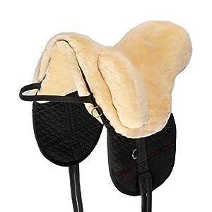 CHRIST Fellsattel Premium Plus XH mit erhöhtem WIDERRIST hochwertiger, baumloser Lammfellsattel, Bare-Back-pad, Pferde-Sattel aus echtem Lammfell in Natur, anthrazit, braun, Gr. Pony, Warmblut