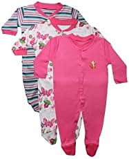 Bubbles Baby Boy's & Baby Girl's Cotton Romper Body Suite (0-3Months, Pink, 4.211E+12) - Pack of 3