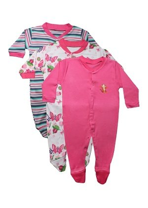 Bubbles Multi Color Romper Body Suite for New Born baby Pack Of 3 (0-3 Months) (Reddish-Pink)