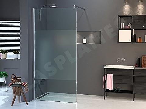 Walk in Dusche aus ESG 10mm in verschiedenen Designs 2000mm x 1100mm satinierter Mittelstreifen