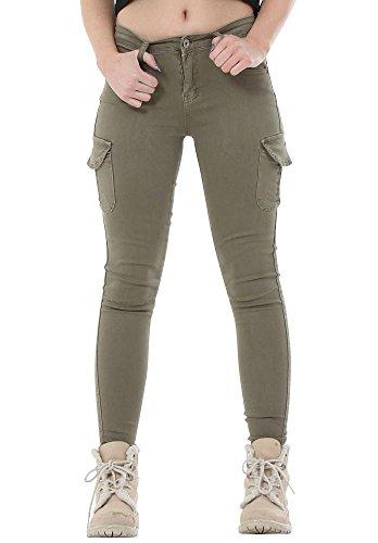 Slim Skinny Stretch Cargo Hose mit kurzen Beinen - Grün 38 Grüne Skinny Cargo-hose Frauen
