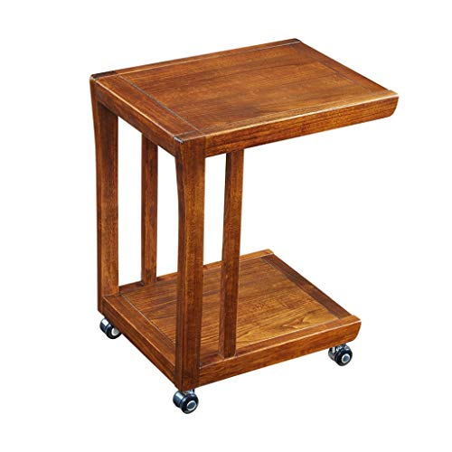 Wz Canapé Table D'appoint, Bois en Forme De U pour Salon Lit Chambre Table À Café avec roulettes 50X38X55CM