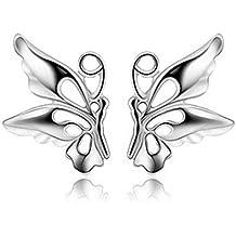 925 Silver Pendientes de mujer con plata de ley - Mariposa Forma Stud Pendientes para las mujeres