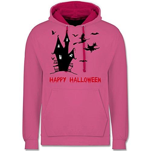 Halloween - Happy Halloween Hexen Haus - Kontrast Hoodie Rosa/Fuchsia