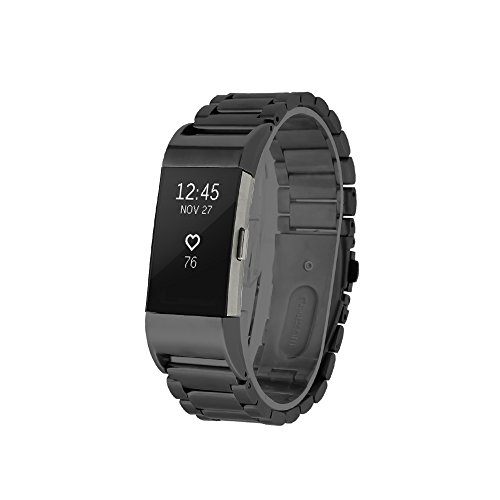 Fitbit Charge 2 Armband Pinhen Charge2 Magnetic Loop Edelstahlband Replacement Strap Watchband Uhrband Uhrenarmband Erstatzband für Fitbit Charge 2 (Steel Black)
