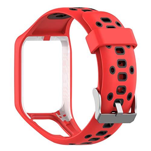 HROIJSL Kompatibel Tomtom Runner 2/3 Spark Silikonband Schwarz Grau Blau Lila Grün Rot Soft Silikon Armband, Uhrenarmband, Weiche Gummi Uhr Band Ersatzarmband für Herren/Damen Uhren