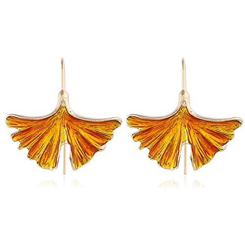 Smilelady Damen Schmuck Tropfen ginkgo Leaf Drop Ohrringe Valentinstag Geschenk für Frauen Yellow
