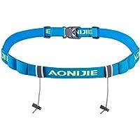 AONIJIE Marathon de triatlón carrera número cinturón con Gel Soporte Running Belt Cinturón de gamuza Motor Running, azul