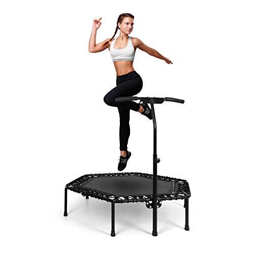 """Klarfit Jumpanatic Pro Fitness-Trampolin - große Trampolinfläche: 50"""" / 127 cm Ø, Stabiler Rahmen, Stahl, 6-stufig verstellbare Griffhöhe, Maximalgewicht: 120 kg, inkl. Schutzmatte, schwarz"""