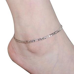 Ba Zha Hei Damen Fußkettchen Einfach Mode Knöchel Dame einfache Mode Gold Fußkette Metall Kette Fußkettchen Einstellbar Armschmuck Damen Mädchen Lässig Schmuck Zubehör