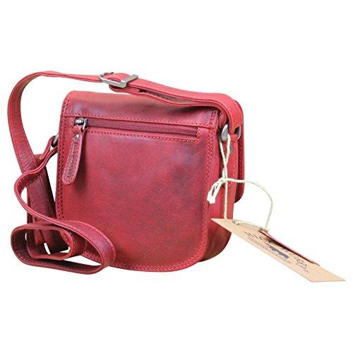 HILL BURRY Damen Schultertasche Beuteltasche Shopper Bag Büffelleder Leder , Farbe:Rot Rot