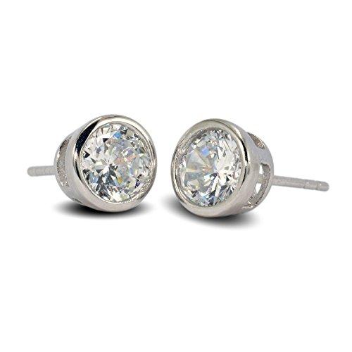 Blue Diamond Club - Simulated White Diamond 7mm 9ct White Gold Filled Bezel Stud Earrings Mens Womens 9K