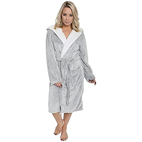 Ladies Shimmer Fleece Robe, Luxury Hooded Dressing Gown, Size 10-20, 14/16 (EU 42-44)