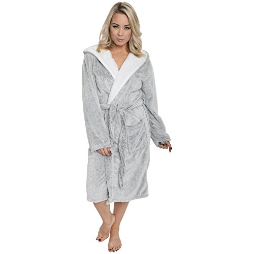 - 41QLGYbay L - Ladies Shimmer Fleece Robe, Luxury Hooded Dressing Gown, Size 10-20 By Daisy Dreamer®