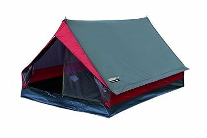 High Peak Tienda, Zelt Minipack, Grau/Rot, 10053, 2 Personen, Gris/Rojo, 190 x 120 x 95 cm