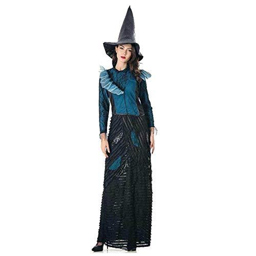 KAIDILA Halloween-Kostüm Cosplay Lange Klassische Schwarze Hexe Kostüm Erwachsene Rolle Spielen cos Hexe Zauberer Kostüm