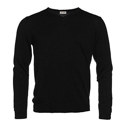 ALLBOW Ellenbogenpatches Pullover Herren in Schwarz, V-Ausschnitt, Business Grau