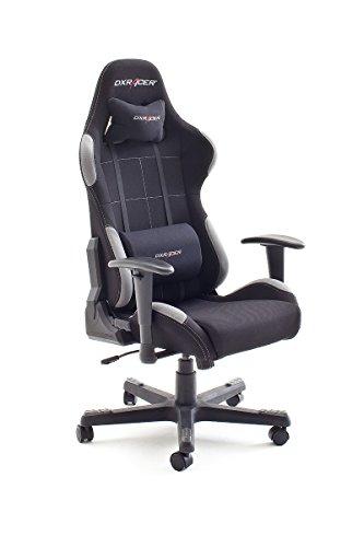 DX Racer5 Gaming Stuhl, Schreibtischstuhl, Bürostuhl, Chefsessel mit Armlehnen, Gaming chair, Gestell Nylon schwarz, 78 x 52 x 124-134 cm, Stoff schwarz / grau