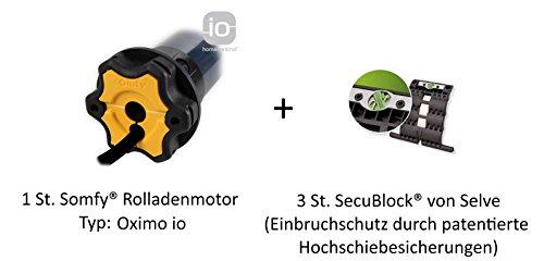 Somfy Smart Home Funk Rolladenmotor Oximo 50 io (10/17) inkl. Einbruchschutz durch 3 patentierte Hochschiebesicherungen, Motorlager, Anschlusskabel und SW 60 Adapter / Mitnehmer.