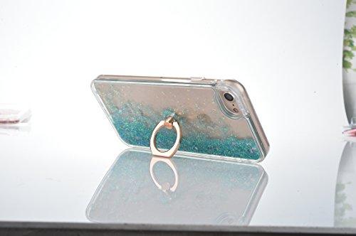 Voguecase Für Apple iPhone 7 4.7 Hülle, Flüssig Fließende Sparkly Bling Glitzer Treibsand Quicksand (Harte Rückseite) Hybrid Hybrid Hülle Soft Edge Schutzhülle Case Cover (Glühen/Treibsand/QQ Ausdruck Ring-Bracket/Liebe Treibsand/Grün