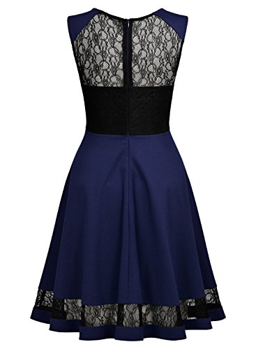 MIUSOL Donna Elegante Abito Elegante Slim Coctel Vestito Blu