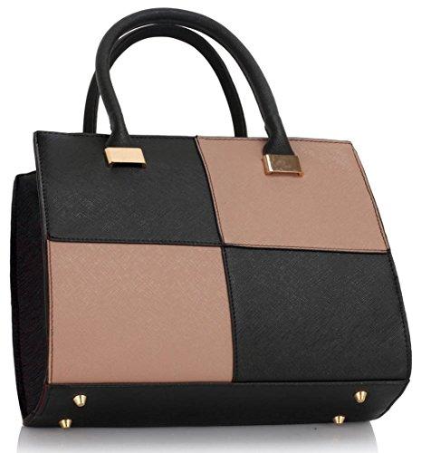 LeahWard® Damen Designer Tragetaschen Damen Celeb Style nett Schulter Handtaschen 111 Schwarz/nackt Tote (35.5x14x28cm)