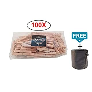 QualityProducts-Clothes Pegs Wood Pack of 100 Wooden Clothes Pegs Natural Large 7 cm Long Free Clothes Peg Bag