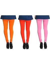 Leggings Free Size Cotton Lycra Churidar Leggings Pack Of 3 Light Orange , Orange & Pink By SMEXY