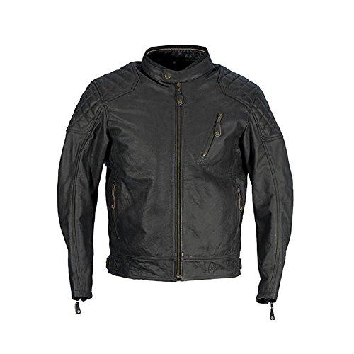 Richa Donington für Herren Klassische Leder Retro Motorrad Jacke - schwarz - Schwarz, UK 54