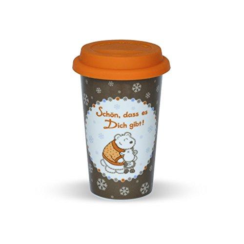 Sheepworld to-go Schön, DASS es Dich gibt, mit orangem Silikondeckel Becher, Porzellan, Mehrfarbig, 9 cm -