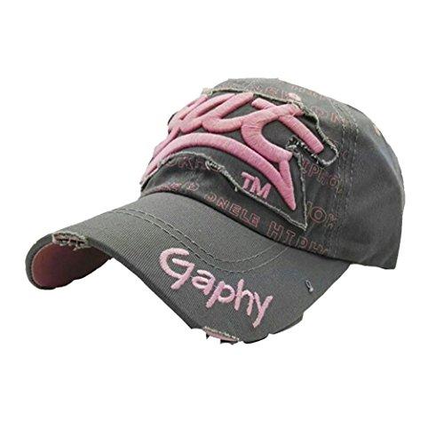 UFACEStickerei Brief Baseball Cap Visor Gestickte Sommer-Kappen-Hüte für Mann-Frauen-zufällige Hüte Hip Hop-Baseballmützen (Grau) (Gestickt Gel)