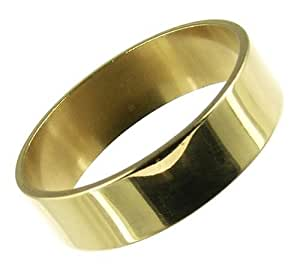 Kareco Men's Wedding Ring, 9 Carat Yellow Gold Medium Flat Shape, 6mm Band Width