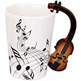كوب ماء من السيراميك من زيلايت، كوب موسيقي ابداعي للمقاطع الموسيقية، مج موسيقى، فنجان قهوة، كمان فريدم، اسود