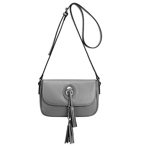 ZPFME Frauen Handtasche Mode Damen Tasche Ledertasche Einfach Mit Umhängetasche Mädchen Party Retro Damen Diagonal-Paket Gray