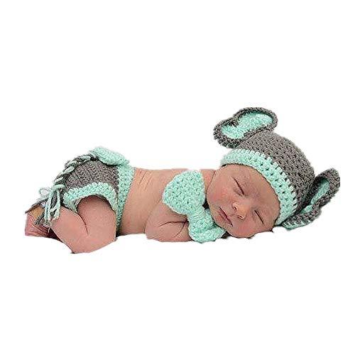 Kostüm Neugeborene Elefanten - NROCF Elefanten Set Neugeborenen Fotografie Kostüm häkeln, niedlichen Cartoon Babyartikel, Halloween-Kostüm